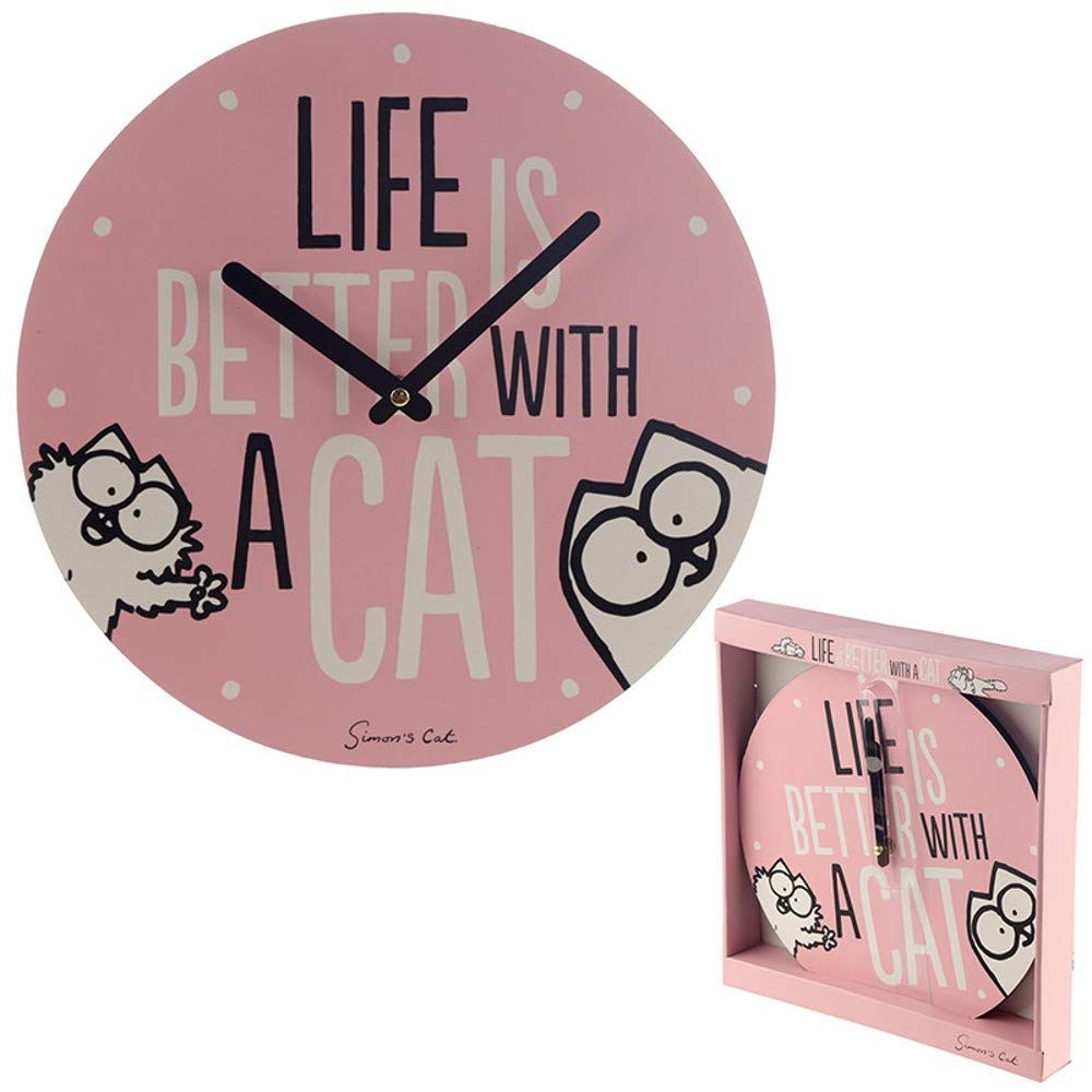 Simon's Wanduhr - Life is Better with A Cat