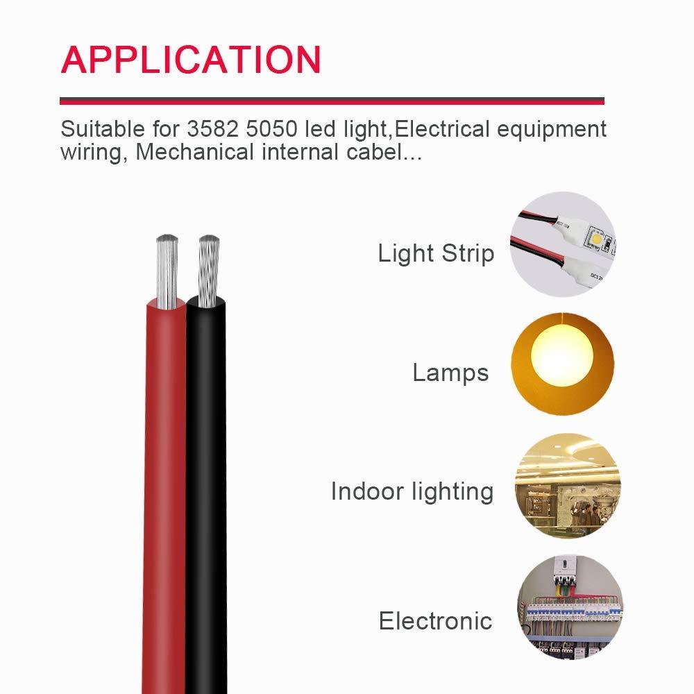 22AWG 20M Cable de extensi/ón Alambre 66ft 20m 22AWG 300V Cable de CA para 3528//2835//5050 LED Franja de luz de un Solo Color con 10 titulares de Cables Libres
