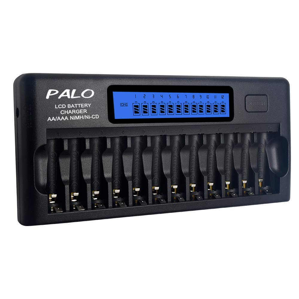 PALO 12 Bays/Slots Smart Battery Charger, AA, AAA, Ni-MH, Ni-CD Rechargeable Batteries Charger with Intelligent LCD Display & Discharging and Built-in IC Protection & AC Wall Adapter (Batteries Not Included) palobattery