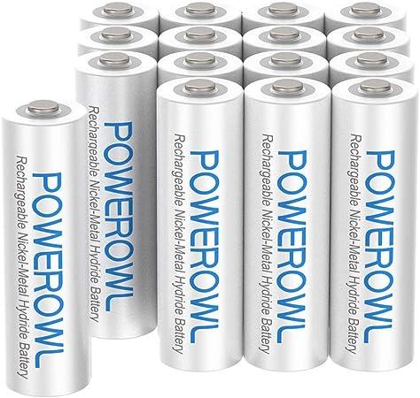 POWEROWL Pilas Recargables AAA Alta Capacidad 1000mAh 1.2V Precarga Ni-MH Pilas AAA Recargable Baja Autodescarga (16 Piezas, Recargable Aproximadamente 1200 Veces): Amazon.es: Electrónica