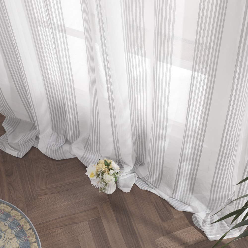 Miulee Tende Trasparenti Con Occhielli Tenda Finestra Voile Per Soggiorno E Camera Da Letto 2 Pannelli 140 X 145cm Bianco Gessato Caffe Tende Classiche E Drappeggi