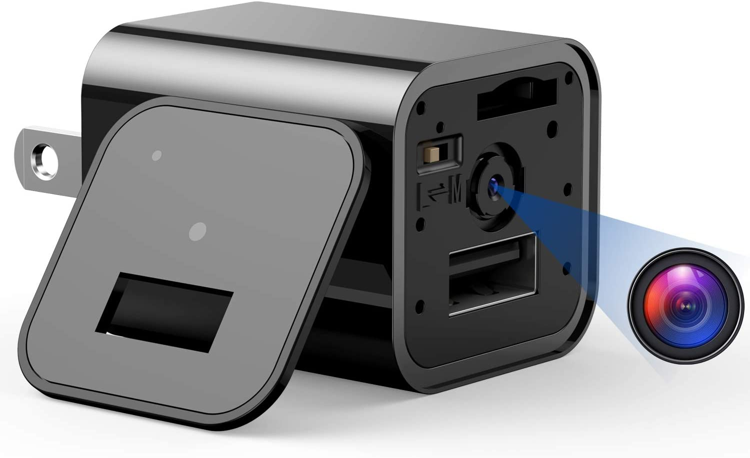 Mini Camera Charger - 1080P USB Hidden Camera, Nanny Camera with Motion Detection, Non WiFi Surveillance Camera for Indoor Outdoor, Covert Security Cameras
