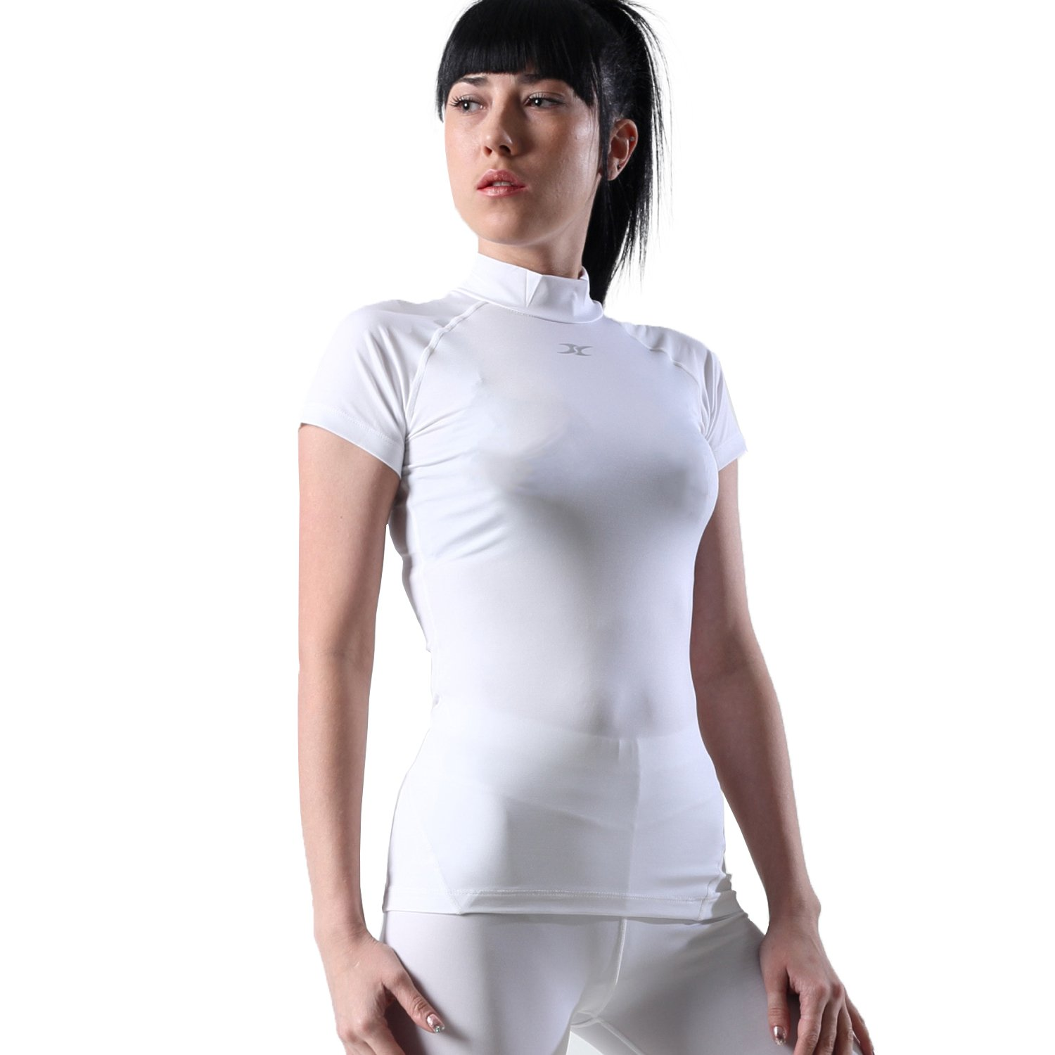 Henri maurice Mock Turtleneck Women Compression Shirt Short Sleeve Base Layer for Gym Yoga SO (White, Medium)