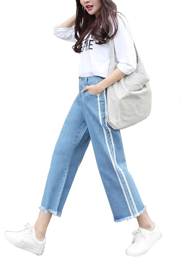 Gihuo Women's Elastic Waist Denim Capris Wide Leg Cropped Culottes Pants (Light Blue, L)