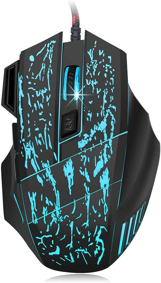 13.5 cm 11.2 cm 5.0 cm Glowing Gaming Mouse Water Crack Seven-Button Gaming Mouse 5500Dpi Ergonomic Design Suitable for Laptop Peripherals ZFD Wired Mouse