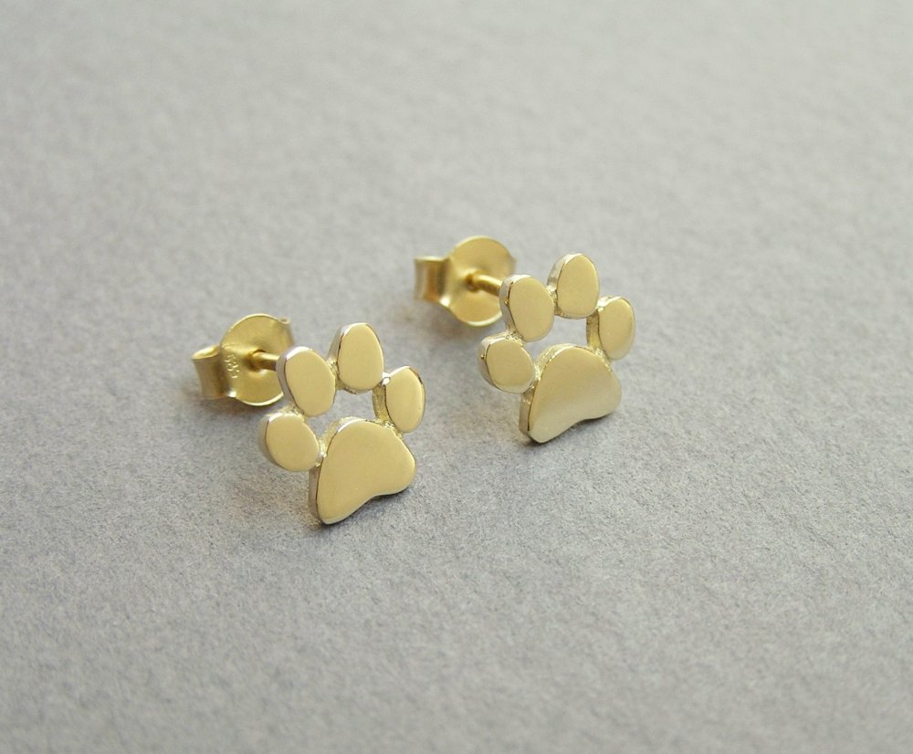 14k Gold Paw Print Earrings