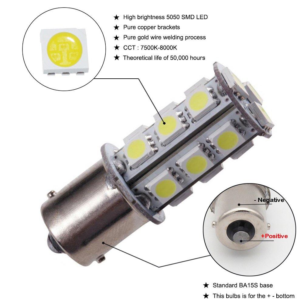 GRV Ba15s 18-5050 SMD 1156 1141 High Bright Car LED Bulb DC 12V Pack of 6 Warm White