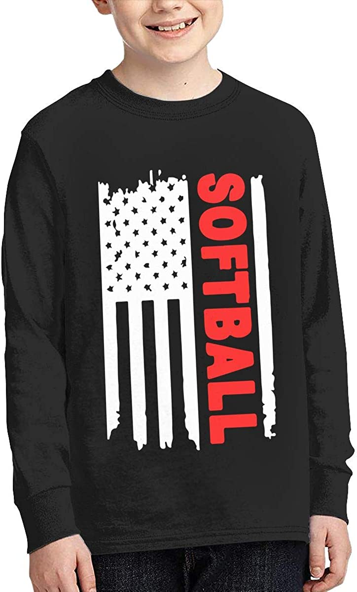 Teenagers Teen Boy Softball Flag Printed Long Sleeve 100/% Cotton Tops