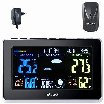 VLIKE VL1003 estación meteorológica con Sensor Exterior inalámbrico para Uso en el hogar Pantalla en Color alarmas duales Temperatura Interior y ...