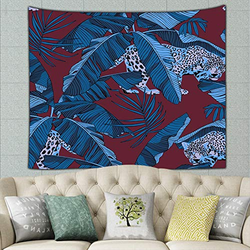 X-Large Jaguars Blue Tropical Banana Animals Wildlife Africa Tapestries for Bedroom Living Room Dorm Photo Studio Wall Decor, 60 X 51 Inch