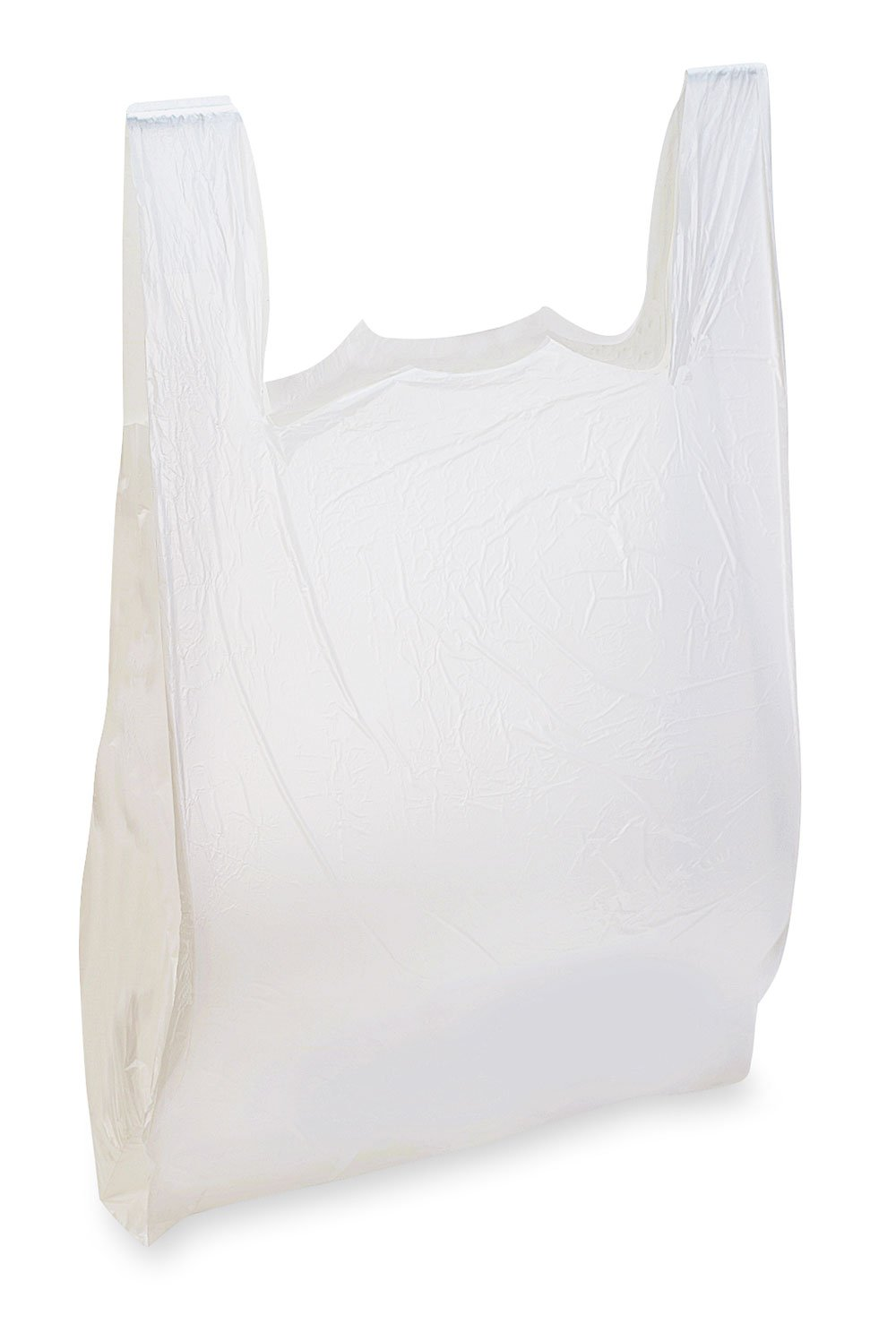 "White Plastic T-Shirt Bags - HDPE (11 ½"" x 6""x 21"") Standard Size - Case of 1,000"