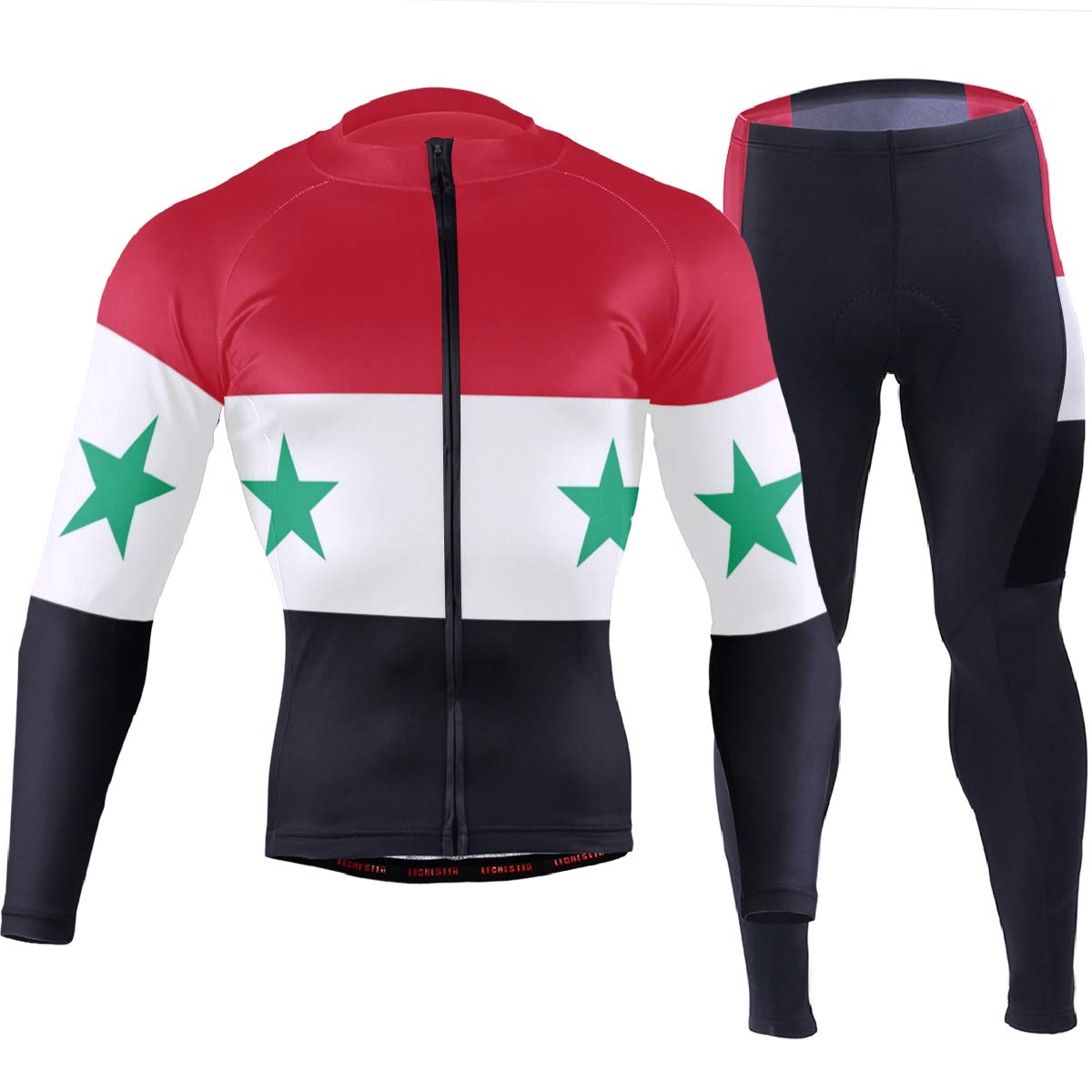 CHINEIN Men's Cycling Jersey Long Sleeve with 3 Rear Pockets Suit Syria Flag