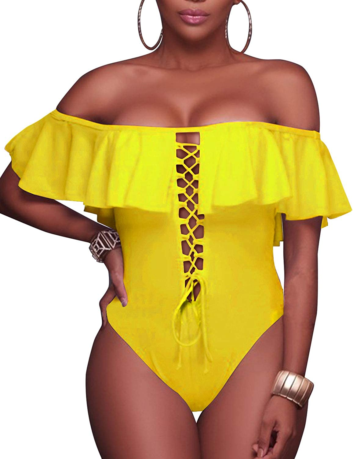 Tempt Me Women's Sexy One Piece Lace Up Ruffled Off Shoulder Flounce Swimsuits