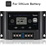 Sunix 10A 12V Solar Charge Controller for lithium Battery, Upgraded Solar Panel Charge Intelligent Regulator with Fuse, Dual 5V 2A USB Port, Overload Protection Temperature Compensation