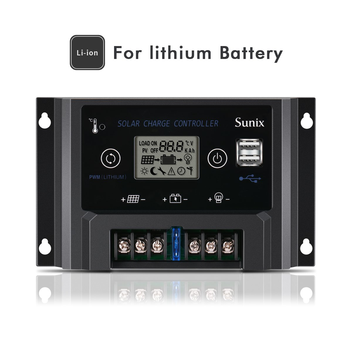 Sunix 20A Solar Charge Controller for lithium Battery, Upgraded Solar Panel Charge Intelligent 12V Regulator with Fuse, Dual 5V 2A USB Port, Overload Protection Temperature Compensation