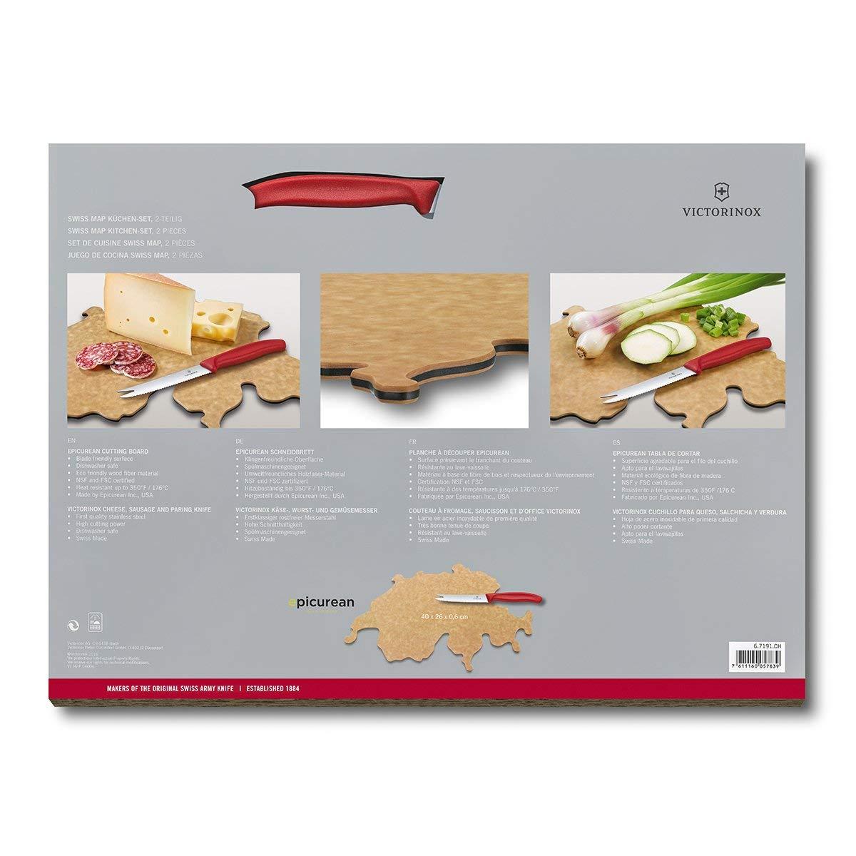 Victorinox Swiss Classic 2-tlg. Küchen-Set, Schneidebrett Landkarte Landkarte Landkarte Schweiz 40 x 25 x 0,6 cm, Käse- und Wurstmesser, Holz B01IR8AFA6 Schneidbretter 6ab198
