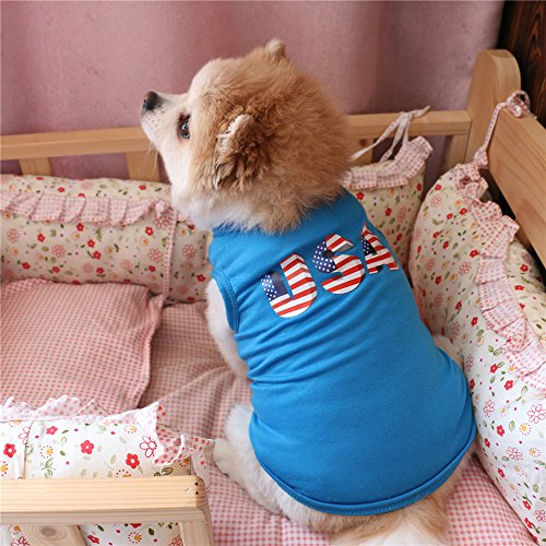 Small Dog Shirt,America Independence Day Style Blue Dog Vest Pet Outfit Dog Vest Printed Dog T-Shirt Puppy Vest Tank Tops Dogs Summer Shirt Soft Sweatshirt for Chihuahua Yorkie Toy Poodle (S, Blue)]()