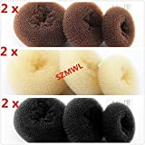 18pcs -6 Set in 3 Colors (6 Large +6 Medium +6 Small) Brown/Beige/Black Beauty Women Girl Lady Ballet Dance Sponge Donut Ring Bun Former Maker Shaper Styler Hairdressing Updo Hair Styling DIY Tool