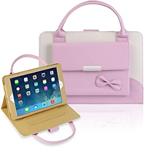 IPad Mini 1/2/3/4 Case,Gemwon Lovely Handbag for Kids,Synthetic Leather Magnetic Stand Cover with Auto Sleep/Wake Function for IPad Mini 1 Mini 2 Mini 3 Mini 4 - Pink