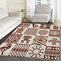 Southwestern Rugs for Bedroom Frames with Ethnic Native American Patterns and Symbols Grunge Look Circle Rugs for Living Room 2x3 Redwood and Eggshell