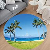 Nalahome Modern Flannel Microfiber Non-Slip Machine Washable Round Area Rug-s Coconut Palm Trees and Lawn on the Sandy Poipu Beach in Hawaii Kauai Picture Blue Green area rugs Home Decor-Round 79''