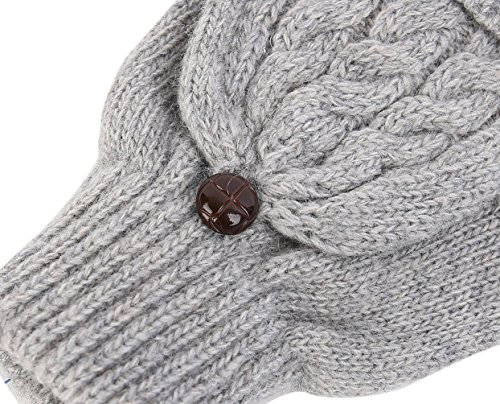 Novawo Women Winter Wool Blend Fingerless Convertible Gloves with Sturdy Chocolate Buttons