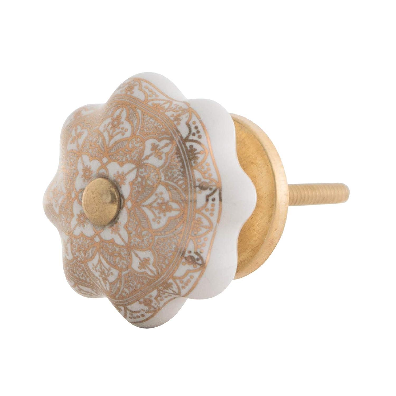 cer/ámica, Forma de Calabaza, Porcelana Knober Pomo para Muebles dise/ño Vintage Color Blanco y Dorado