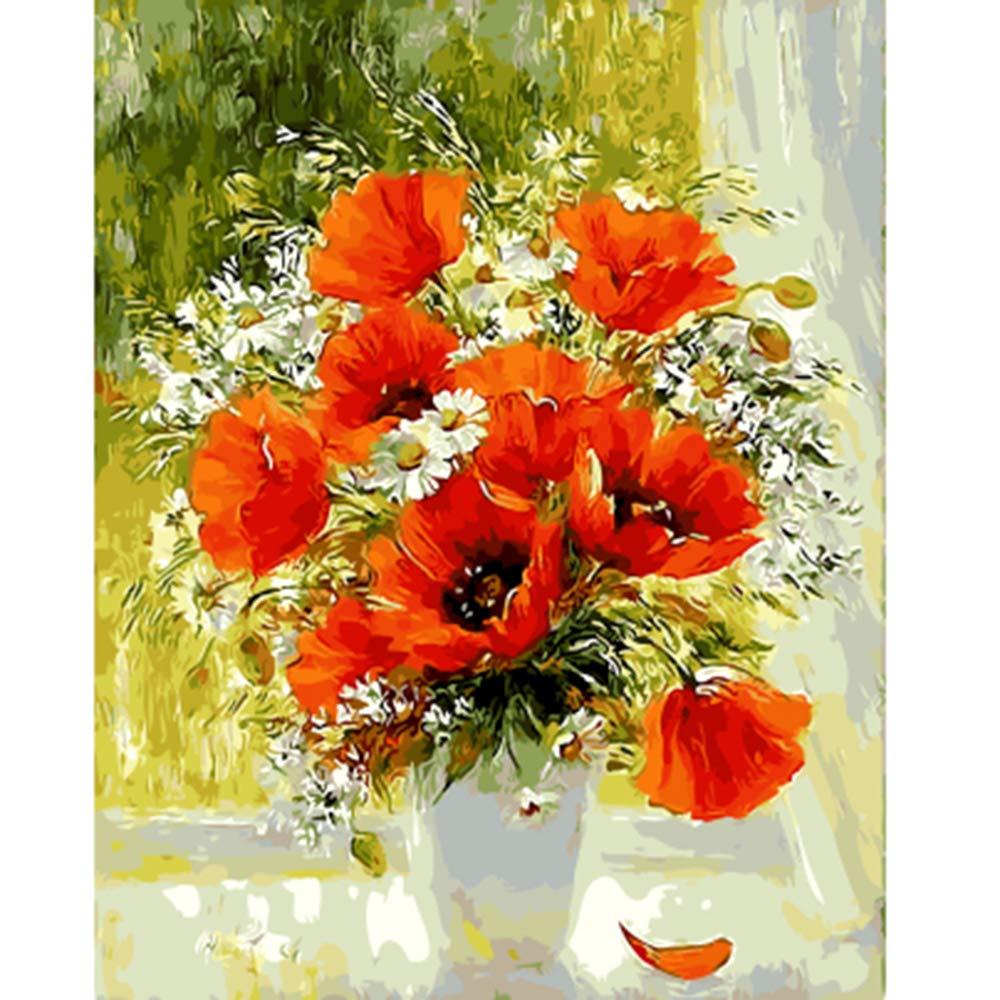Diy Frame 40x50cm  NGDDXTG Encadré Fleur Peinture par Numéros Fleur DIY Numérique Toile Peinture à l'huile Décor à La Maison pour Salon Mur Art