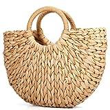 JOSEKO Womens Straw Summer Beach Handbag Shopper Basket Casual Handle Bag Tote for Travel Shopping and Everyday Use