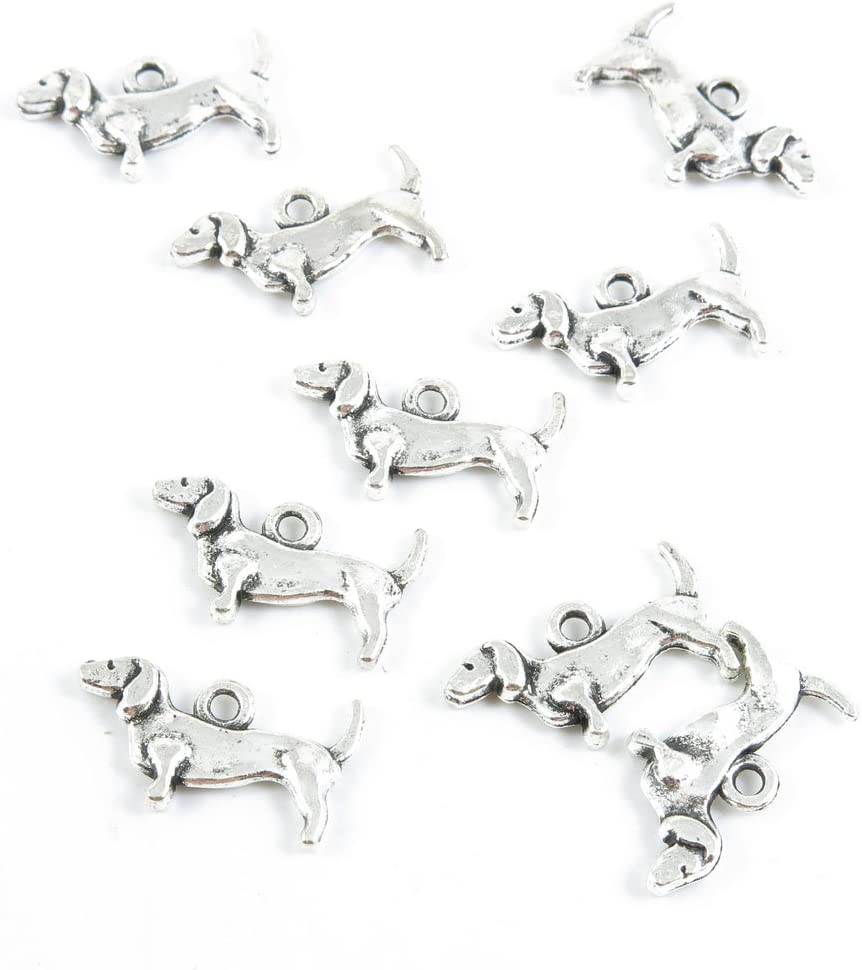 Qty 20 Pieces Antique Silver Tone Jewelry Making Supply Charms Findings M4CU7 Dachshund Dog