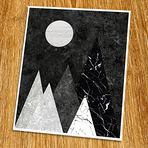 - Geometric Art Print (Unframed), Retro Art, Abstract Art Poster, Mid-century Art, Cafe, Industrial, Loft, Mountain Wall Art, Black and White, 8x10