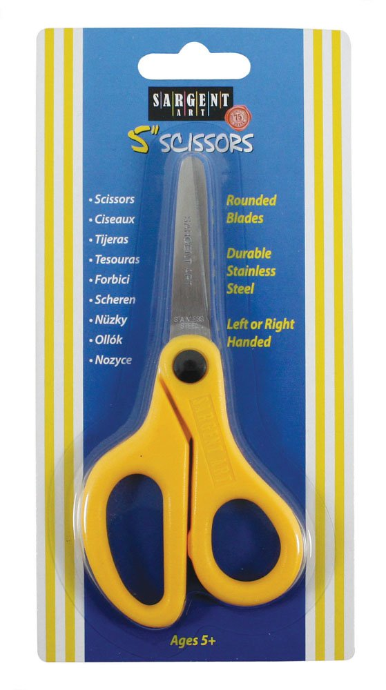 Sargent Art 22-0903 5-Inch Childs Safety Scissors, Blunt Tip Stainless Steel Blades, Yellow Handle