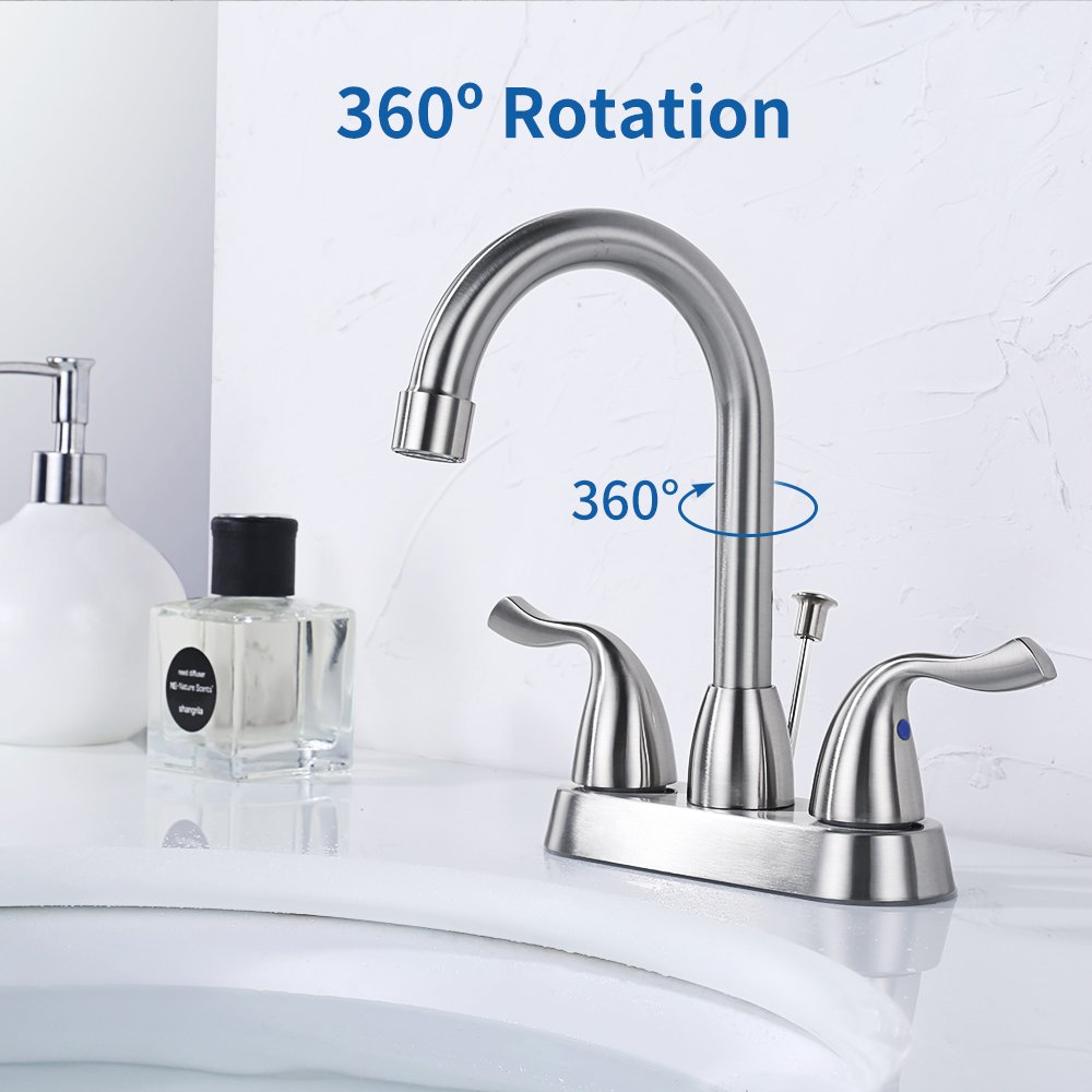 DESFAU Modern 3 Hole 4 Inch Centerset Two Handle Bathroom Faucet with Drain Assembly,High-arc Spout Faucet Bathroom Brushed Nickel,360 Degree Swivel Lavatory Faucet Bathroom Sink Faucet by DESFAU (Image #4)