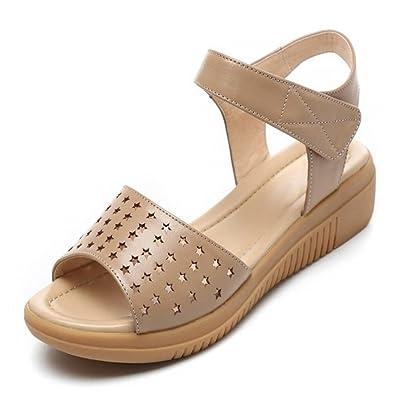 XZGC Sandalen Weiblichen Sommer Flach Offene Schuhe, 36 EU, Schwarz