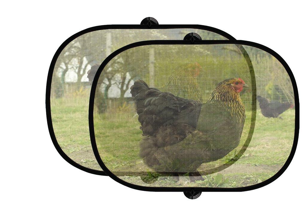Happy Chickens Live Onファーム2個折りたたみ式自動ウィンドウサンシェードメッシュ B0758WPNL9