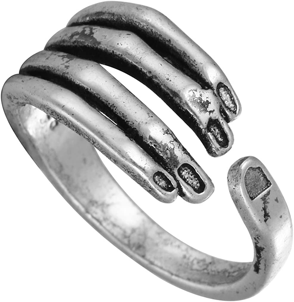 Chengxun Men's Gothic Knuckle Cool Rings for Man Skeleton Jewelry