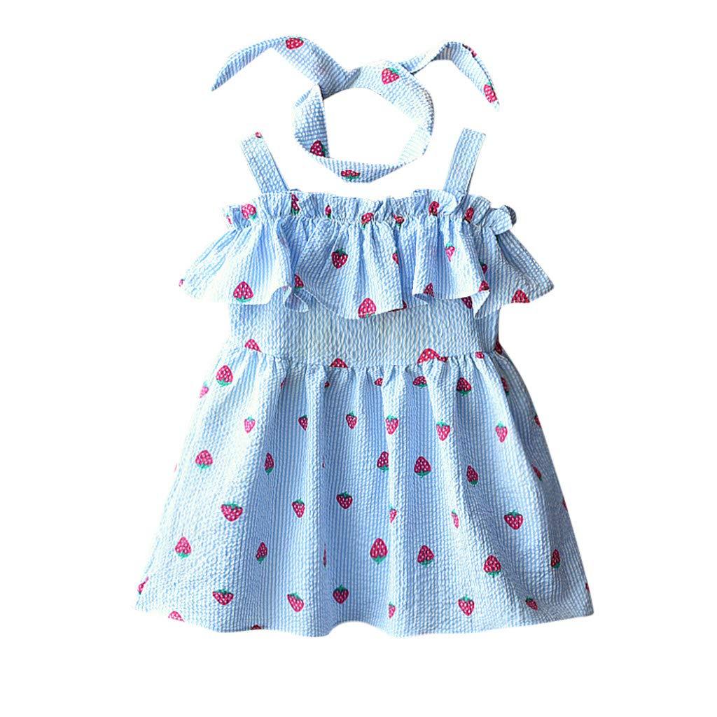 6c9f9dde74463 Amazon.com: KingWo 2-7Y Baby Girl Dress+Headband, Toddler Kids Baby ...