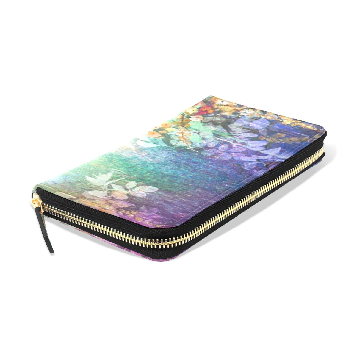 Womens Wallets Vintage Watercolor Ivy Flowers Leather Passport Wallet Change Coin Purse Girls Handbags