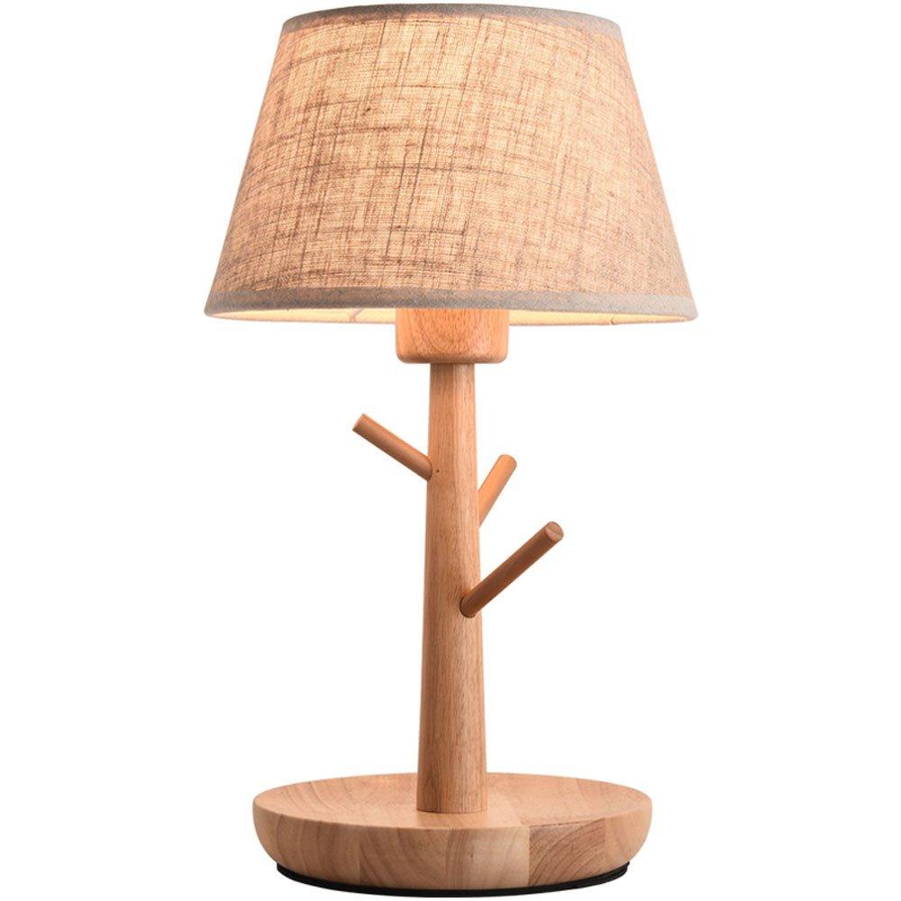 HTZ Minimalistische Tischlampe Nordamerikanische Kunst Kreative Stoff Holz Wohnzimmer Schlafzimmer Nachttischlampe Lampe E27 21x38 Cm A++