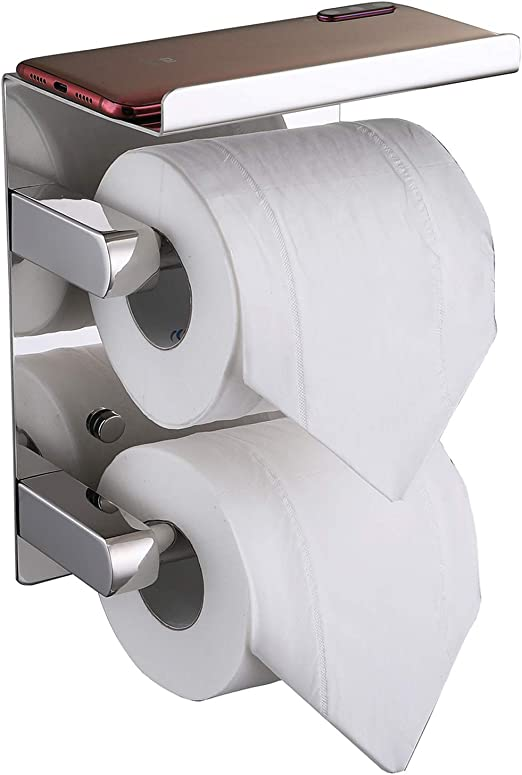 Stainless Steel Double Roll Toilet Paper Holder