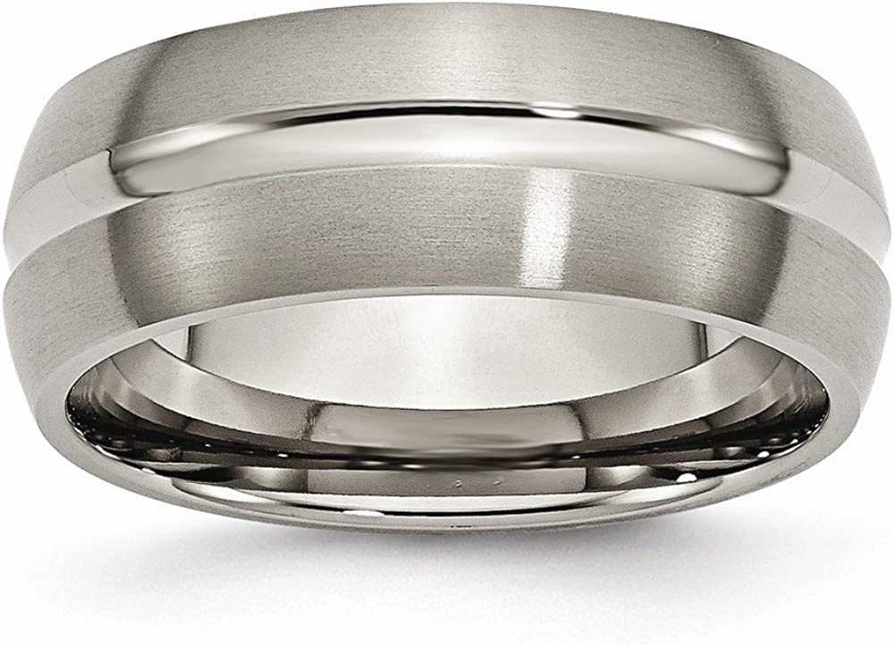 Titanium Grooved 8mm Brushed and Polished Band Size 10 Length Width 8
