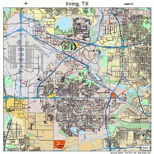 Large Street & Road Map of Irving, Texas TX - Printed poster ...