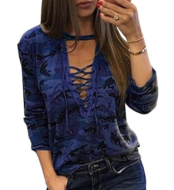 JackenLOVE Mujeres Tops Moda Camuflaje Blusa tee Camisas Sexy Cuello V Vendaje Camisetas de Manga Larga