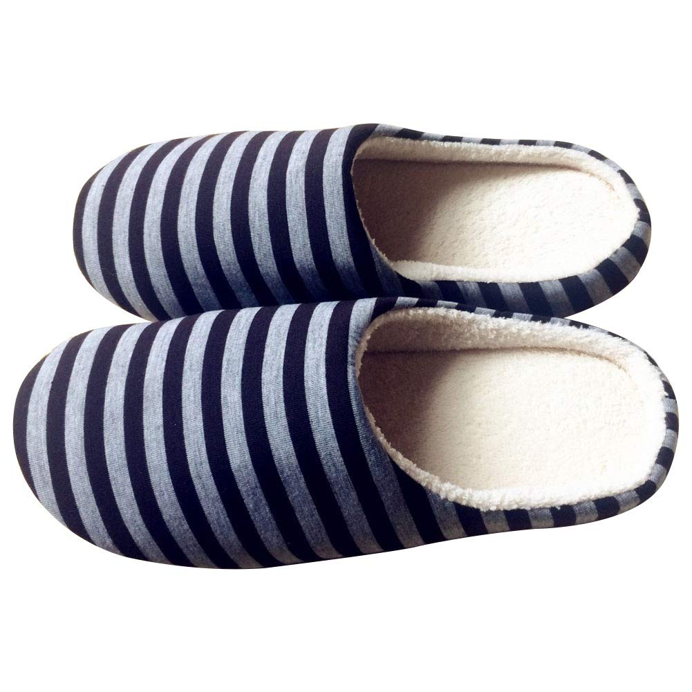 Yonger Men Home Slippers Warm Mute Cotton Slippers Blue Stripes Bedroom Shoes