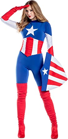 Amazon Com Charades Women S Marvel Captain America Costume As Shown Small Clothing Captain marvel cosplay outfit avengers 4 endgame costume red suit with bootstop rated seller. charades women s marvel captain america