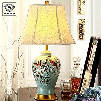 Lámparas de mesa de cerámica cobre europeos cabecera ...