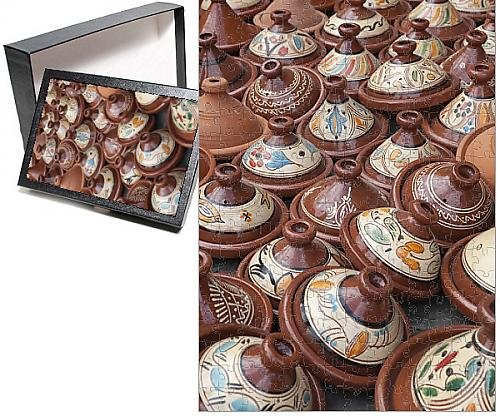 Photo Jigsaw Puzzle of Tajines for sale in the souk, Marrakech, Morocco, North Africa, Africa