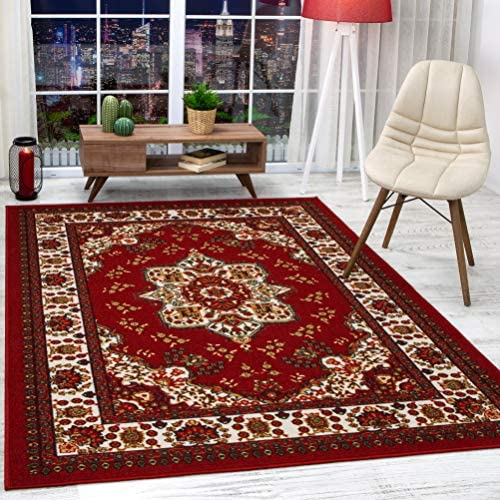 Antep Rugs Alfombras Oriental Traditional 8×10 Non-Skid Non-Slip Low Profile Pile Rubber Backing Indoor Area Rugs Maroon, 8 x 10