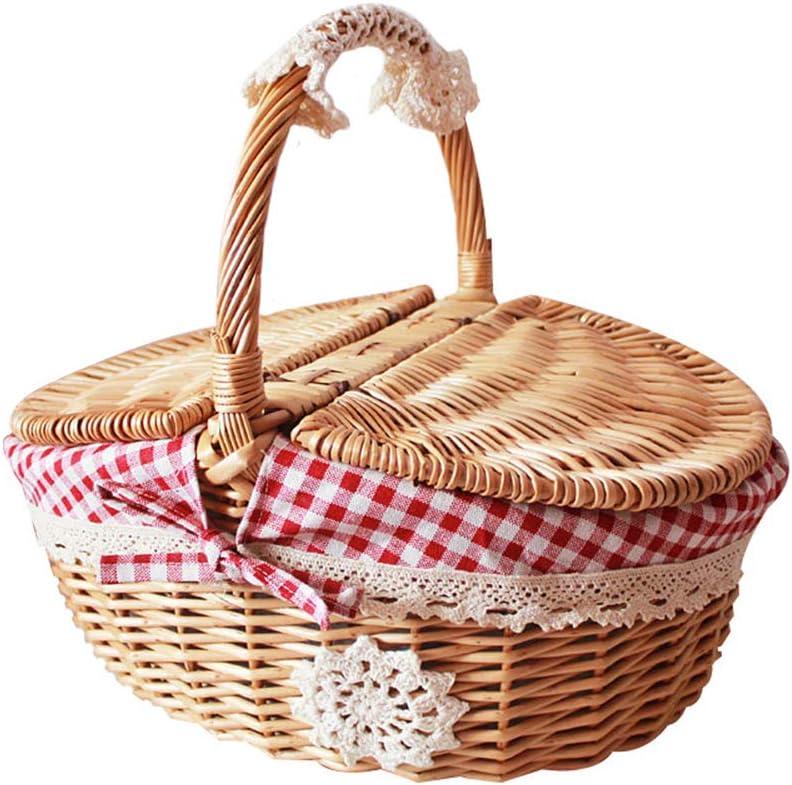 Handmade rattan woven food fruit large capacity portable outdoor picnic vegetable storage basket Picnic basket