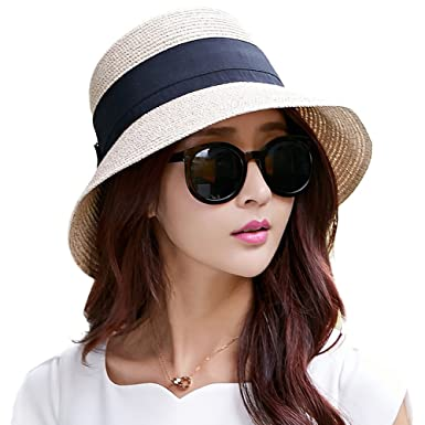 Ladies Summer Sun Hats Women Panama Straw Beach Hats Foldable Wide Brim  Floppy Fedora - UPF e93890b677b